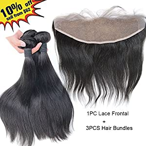 ZM Hair DHL To USA Free Human Hair Silky Straight Lace Frontal with 3 Pieces Hair bundles (12 12 12 12)