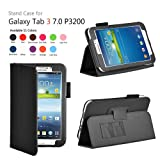 onWay(TM) Slim Fit Leather Case Cover for Samsung Galaxy Tab 3 7.0 inch Tablet (SM-T210/GT-P3200/P3210) + Gift: stylus touch pen x1 (Black Color)