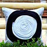 Frills And Colours In Geometric Patterns- Black And White Cushion Cover
