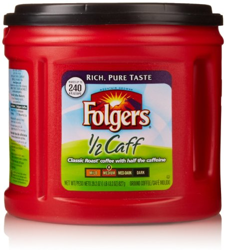 Folgers 1/2 Caff Ground Coffee, 29.2 Oz