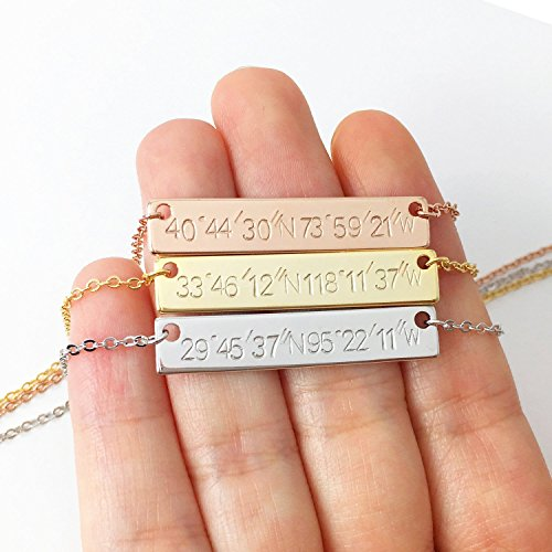 A Hand stamped Custom Coordinates Necklace in Gold Silver Rose Gold Personalized Name Initial Gifts