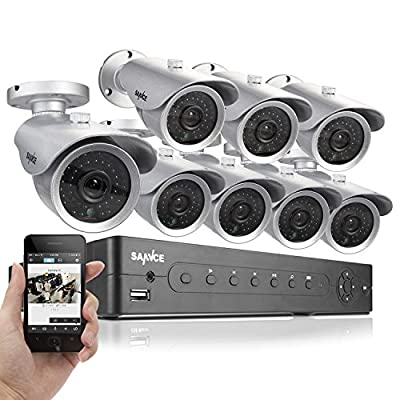 SANNCE 8CH CCTV Security Surveillance DVR with 8 Hi-Resolution 700TVL Weatherproof Outdoor 110ft Night Vision Security Cameras 500GB Hard Drive Included QR Code Scan Easy Setup