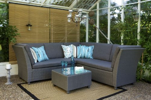 Rattan garden furniture - Grey Rattan Garden Corner Sofa Suite