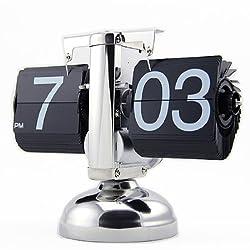 JCC Classic Retro Flip Page Down Clock Quartz Desk Desktop Clock Internal Gear Operated (Black)