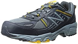 New Balance Men\'s MT410V4 Trail Shoe, Grey/Yellow, 10.5 4E US