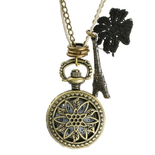 Steampunk Parisian Hexagram Fob Pocket Watch Necklace