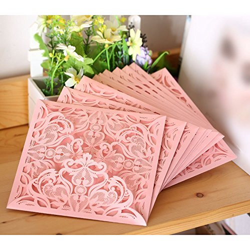Envelope Delicate Carved Pattern Pink Birthday Business Party Wedding Decoration Event Invitation Card 10Pcs/pack