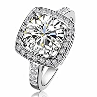 Yours Gorgeous Use Swarovski Element Crystal 18k White Gold Plated 1.5ct Emulational Diamond Ring by Italina