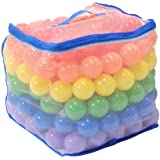 Wonder Playball Non-Toxic 200 Phthalate Free Crush Proof Pit Balls, Red, Orange, Yellow, Green, Blue and Purple, 6.5 cm