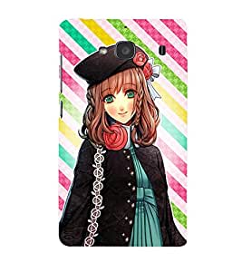 Omnam Cartoon Girl With Stripes Back Ground Desinger Back Cover Case For Xiomi Redmi 2S