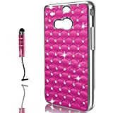 Vandot Luxus Ersatzteile Set 2 in1 HTC One M8 1x Hart Tasche Matt Slim hülle Star Stern Glitzer Strass Premium Schutzhülle 3D handgefertigte Bling Kristall Diamant Metall Hard Case Cover Hybrid Etui Schale Aluminum Bumper + 1x Universal Mini Stift Stylus Glitter Tablet Touch Pen mit 3,5 mm Anti Staub Schutz Stecker Stöpsel - Rosa Hot Pink Mobile Phone Accessory
