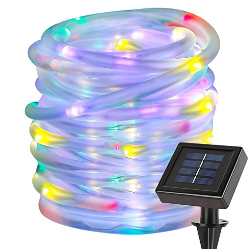 LE 33ft 100 LED Solar Power Rope Lights, Waterproof, Portable, String Lights, Light Sensor, Christmas Tree, Thanksgiving, Wedding, Party, Garden, Lawn, Patio, Decoration, RGB