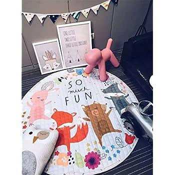INCX Kids Play Mat/Rugs and Toy Organizer Storage Cotton 58x58 Inch Foxs