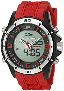 U.S. Polo Assn. Sport Men's US9534 Analog-Digital Watch With Red Rubber Band