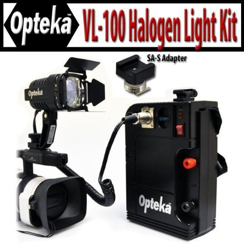 Opteka Vl-100 100-Watt Professional Halogen Camcorder Video Light Kit With 12V Rechargeable Battery Pack With The Sa-S Adapter For Sony Active Interface Hot Shoe (Ais) Camcorders