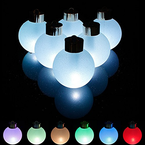 6x Batteriebetriebene Kugel LED Lichterkette [ Modell 2014] Farbwechsel Weihnachtskugeln christbaumkugeln (Lange Zeit beleuchten) mit Fernbedienung Ideal für Weihnachtsbaum Weihnachtsbeleuchtung Geburtstag Party Geschehen Hochzeit 65mm