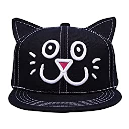 SUNJAZZ Unisex Kid Child Baseball Cap Snapback Hat Cute Cat Ears Cap Black