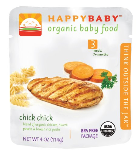 HAPPYBABY Organic Baby Food, Stage 3, Chick Chick, 4-Ounce Pouch (Pack of 16)