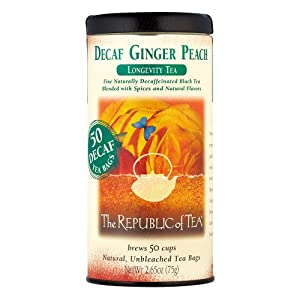 The Republic Of Tea Decaf Ginger Peach Black Tea, 50 Tea Bags, Longevity Blend Of Ginger And Peach Tea by The Republic Of Tea