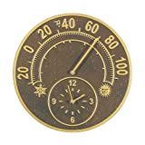 Whitehall Antique Copper Solstice Thermometer Clock - 01782