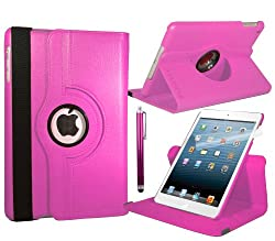 Baby Pink Apple iPad Mini Leather Smart Case with 360° Degree Rotating Swivel Action for Portrait and Landscape Orientation with Free Screen Protector and Stylus Touch Pen by Stuff4®