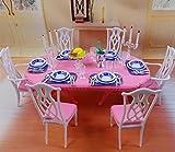 【ノーブランド】ヨーロッパ風 1/6 ドールサイズ ミニチュア ダイニングテーブル 椅子6脚と食器類セット