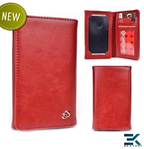 Universal PU Leather Unisex Bifold Wallet fits Google Nexus 4 Case – RED. Bonus Ekatomi Screen Cleaner