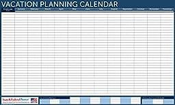 UNDATED Horizontal Vacation Planner (Blue) Laminated, Erasable Calendar 24 x 40\