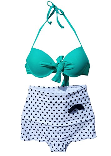Cocoship Retro Vintage Push up Bikini Sets Green Top+white Polka Bottom L(FBA) image