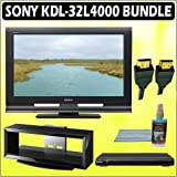 Sony Bravia L-Series KDL-32L4000 32-inch 720P LCD HDTV + Sony DVD Player w/ TV Stand Accessory Kit
