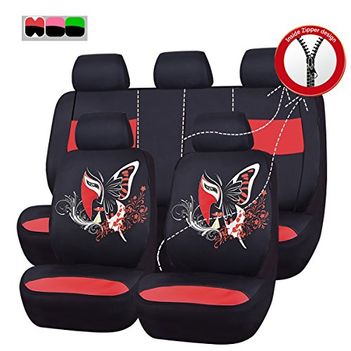 CAR PASS 11PCS Insparation Universal Car Seat Covers Set ,Airbag Compaitable (Black With Red) (Car Girl Seat Covers compare prices)