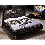 Polsterbett Doppelbett 180x200 cm, Stoffbezug schwarz, Bett + Lattenrost + Matratze, Ehebett Designerbett Cassio