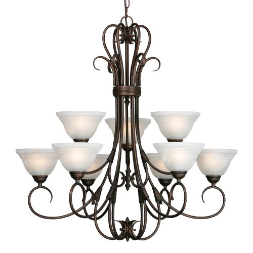 Golden Lighting 8505-9 RBZ Homestead Ridge Two Tier Chandelier, Rubbed Bronze Finish