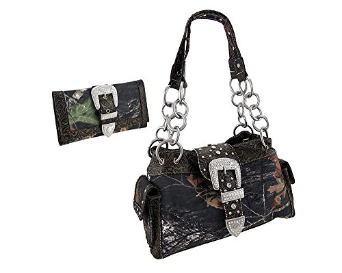 Camouflage Rhinestone Western Buckle Purse/Wallet Set (Coffee)