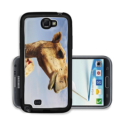 Liili Premium Samsung Galaxy Note 2 Aluminum Snap Case A close up view of the head of a dromedary camel against a slightly cloudy sky IMAGE ID 6025115