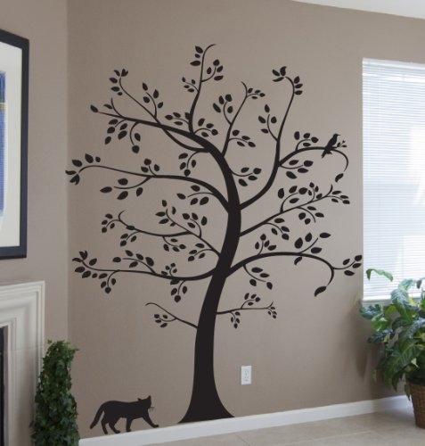 7 5 ft big tree with cat and bird wall decal deco art for Big tree with bird wall decal deco art sticker mural