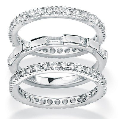 Cubic Zirconia Eternity Bands (Set of 3) Size: 9