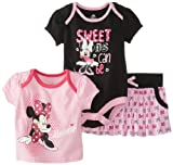 Disney Baby Baby-Girls Newborn Minnie Mouse 3 Piece Skirt Set