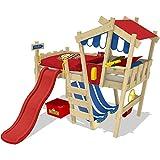 WICKEY-Kinderbett-CrAzY-Hutty-Hochbett-Abenteuerbett-inkl-Lattenboden-Rot-Blau-rote-Rutsche