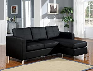 San Francisco Leatherette Convertible Sectional Sofa and Ottoman in Black