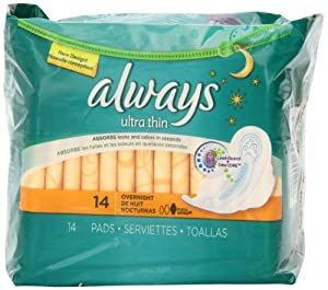Always Ultra Thin Unscented Pads with Wings, Overnight, 14 Count (Pack of 4)