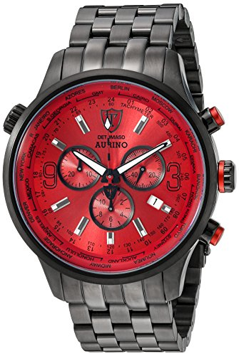 Detomaso Aurino Men's Quartz Watch with Red Dial Chronograph Display and Black Stainless Steel Bracelet DT1061-B