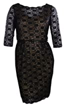 Hot Sale Sequin Floral Lace Cocktail Dress with Belt (22W, Black)