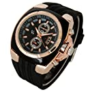Crazy Sale New V6 Men's Business Wrist Watch Black Color Gold Case Analog Sport