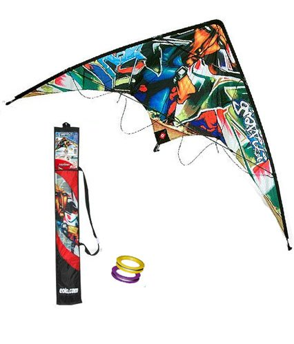 Eolo-Sport Stunt Kite 63-Inch - Grafitty with Flight Manual