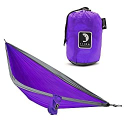 Single Person Adventure Hammock made of Rip-stop Nylon by Tribe Provisions - Includes carabiners and lashing cables Purple
