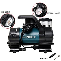 Windek B54B 120PSI 12V Multi-Functional Heavy Duty Portable Air Compressor/Tire Inflator with LED Light & Adaptor Set & Carry Bag
