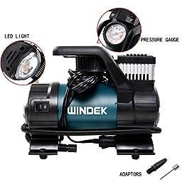 Windek B54B 120PSI 12V Multi-Functional Heavy Duty Portable Air Compressor/Tire Inflator with LED Light & Adaptor Set & Carry Bag