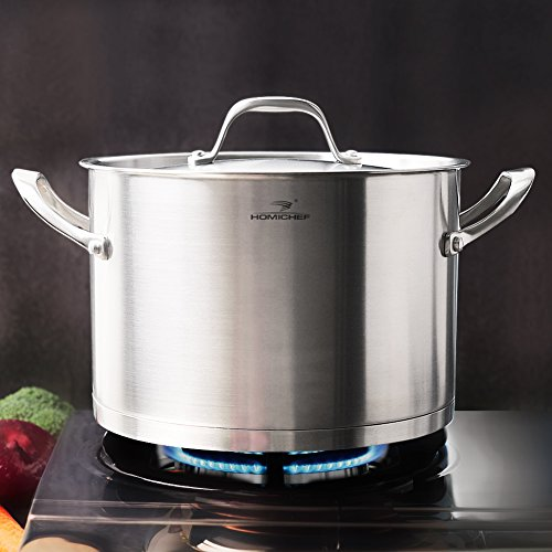 HOMI CHEF Matte Polished Stainless Steel 7 QT Stock Pot with Lid (10 Inch, Straight Sided, Nickel Free, No Coating) - Professional 7 Quart Nonstick Cast Iron Stainless Steel Straight Sided Stockpot