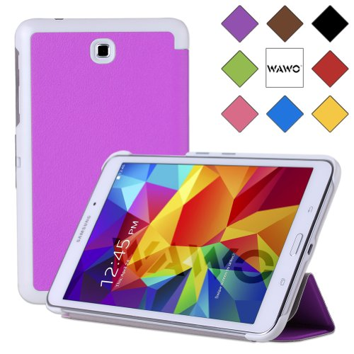 Wawo Samsung Galaxy Tab 4 8.0 Inch Tablet Smart Cover Creative Fold Case - Purple front-808306